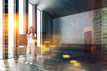 Attic living room, tv and sofa, woman
