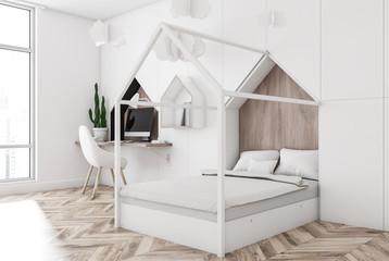 White kids bedroom corner, white bed