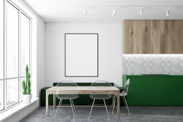 Green sofa kitchen with poster
