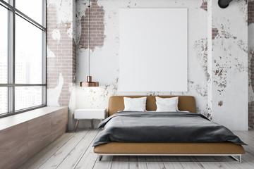 Grunge master bedroom interior, poster