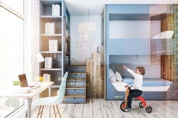 Gray bunk bed bedroom, computer desk, boy