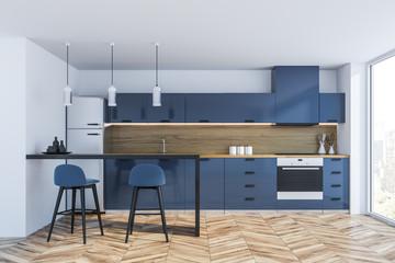 Blue panoramic kitchen