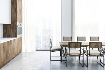 Long table kitchen interior