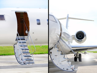 Stairs with jet engine on a private airplane