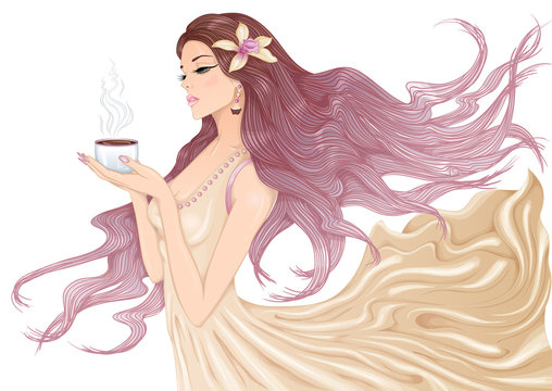 Vector illustration of a beautiful young girl with long hair in a flowing dress with a cup of hot coffee or tea in her hands. Isolated on white background.
