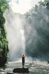 Rear view of female backpacker with arms raised looking at waterfall while standing on rock in forest