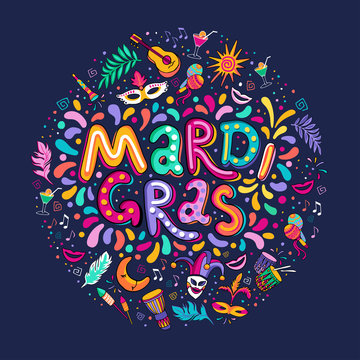 Vector Hand drawn Mardi Gras Lettering text inscription round shape. Carnival Colorful Party Elements confetti fireworks