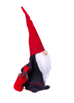 Christmas elf with pointed hat. Scandinavian gnome, troll, decorative christmas toy, isolated on white background.