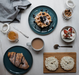 Close-up of fresh breakfast served on table