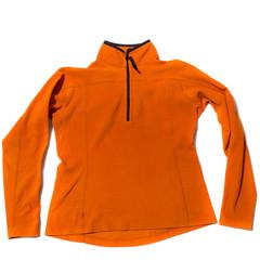 Orange Womens fleece jacket on white background