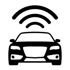 Connected & autonomous car - flat vector icon