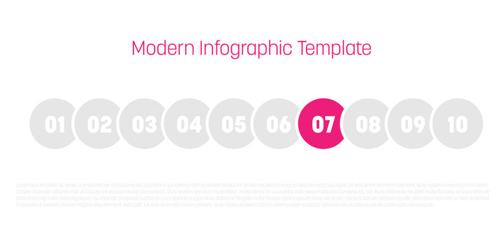 10 step process modern infographic diagram. Graph template of circles. Business concept of 10 steps or options. Modern design vector element in grey with pink highlighted step.