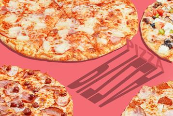 pizza pop art banner advertising concept