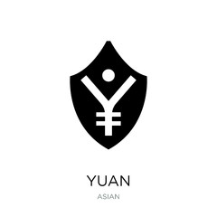 yuan icon vector on white background, yuan trendy filled icons f