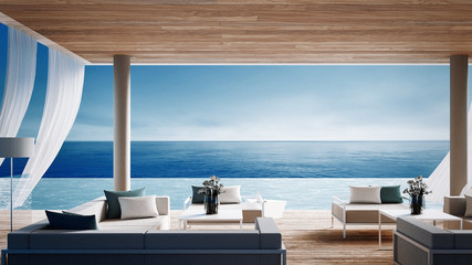 Living beach lounge - ocean villa on Sea view for vacation and summer / 3d render interior Wall mural
