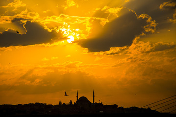 Beautiful cityscape of Istanbul during the sunset time