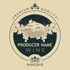 vintage label for wine bottles with grapes