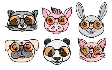 Vector Set Animal character head dog, raccoon, pig, panda, cat with fun round glasses