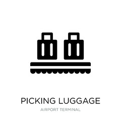 picking luggage icon vector on white background, picking luggage