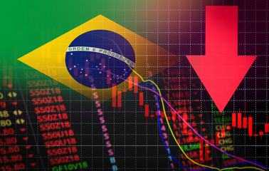 Brazil Stock Exchange market crisis red market price down chart fall Business and finance money crisis red negative drop in sales economic fall