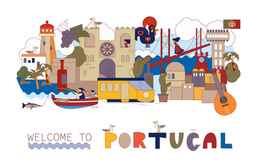 Portugal. Map of attractions of Lisbon. Historical and cultural. Tourism, travel