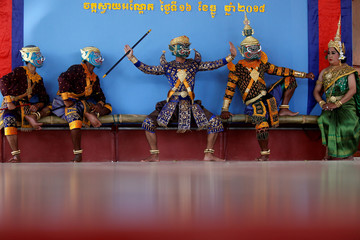 Dancers perform masked theatre known as Lakhon Khol in Kandal province