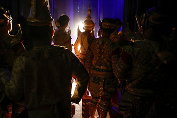 Dancers wait backstage during a performance of masked theatre known as Khon at the Thailand Cultural Centre in Bangkok