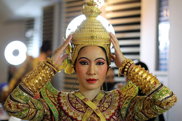 Dancer poses backstage before a performance of masked theatre known as Khon at the Thailand Cultural Centre in Bangkok