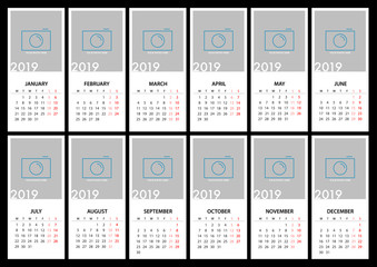 Calendar for 2019 Week Starts Monday. Simple Vector Template