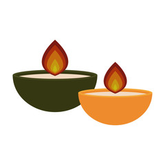 Candles and Flames - Two candles and flames isolated on white background
