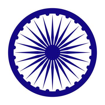 Ashoka Chakra for India - Blue wheel called Ashoka Chakra from flag of India isolated on white background
