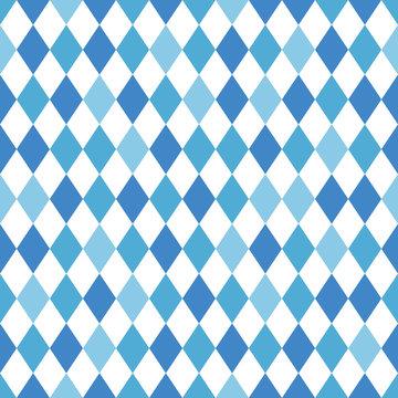 Blue Oktoberfest Diamond Seamless Pattern - Shades of blue and white diamond design popular for Oktoberfest
