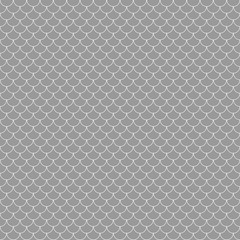 Fish Scales Seamless Pattern - Gray and white fish scales or scallops design