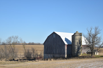Vintage old barn with silo in late autumn on a sunny day on a farm in the country