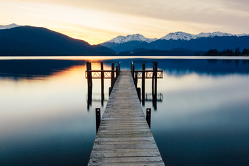 Sunset from a wharf in Te Anau, New Zealand