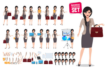 Woman business character vector set. Female office worker holding bag with various poses and hand gestures for business presentation. Vector illustration.