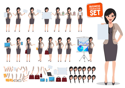 Woman business character vector set. Female office worker holding blank empty white board with various pose and gestures for business design presentation and elements. Vector illustration.