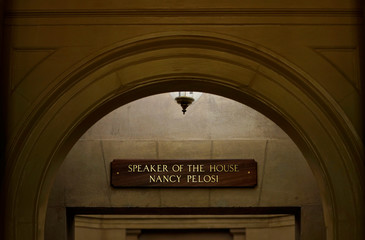 A plaque displayed with the name of Speaker of the House Nancy Pelosi, is placed at the Speaker's office on Capitol Hill in Washington