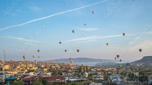 Wall mural Cappadocia city skyline with balloon flying inTurkey, timelapse 4K