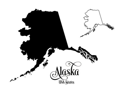 Map of The United States of America (USA) State of Alaska - Illustration on White Background