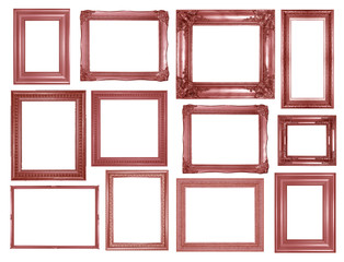 collection of pink gold vintage picture and photo frame isolated on white background