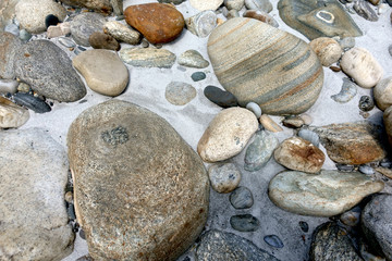 Rounded stones on the river Bank