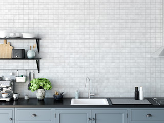 Kitchen interior wall mockup.  Wall art. 3d rendering, 3d illustration.