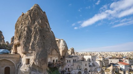Wall Mural - Cappadocia cave city skyline time lapse with in Goreme, Turkey