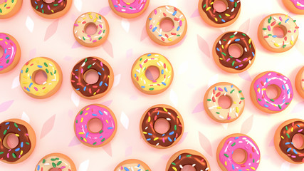 Sweet tasty donuts with colorful sprinkles view from above. 3d rendering picture.