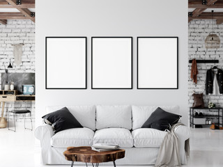 Frame mockup. Living room interior wall mockup. Wall art. 3d rendering, 3d illustration.
