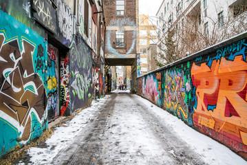 Canvas Prints Narrow alley Graffiti Alley Toronto