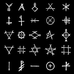Set with mystic and occult symbols. Hand drawn and written alphabet signs. Spiritual masonic tattoo ideas. Vector.