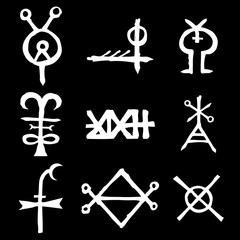 Set of alchemical symbols on the theme of old manuscript with occult lyrics alphabet and symbols. Esoteric written signs inspired by medieval writings. Vector