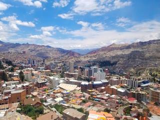 Aerial view of La Paz, Bolivia City center